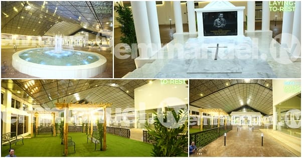 Photos of water fountain, indoor garden, AC units at TB Joshua's presidential burial ground