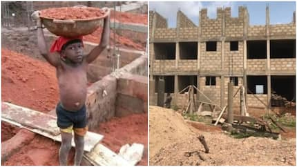 Nigerians react to viral photo of young boy spotted at construction site