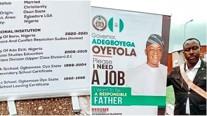 Reactions as Nigerian man prints resume on roll up banner, places it at secretariat, begs Gov Oyetola for job