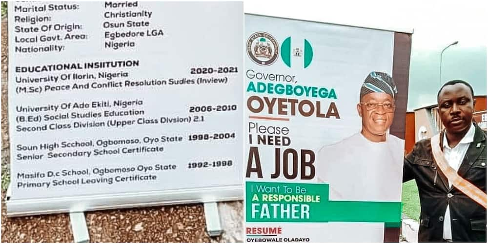 The Nigerian man has got social media talking with his roll up banner