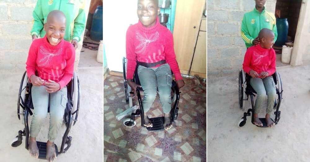 Overjoyed Yamkela Mafiyane, 13, Finally receives her Wheelchair