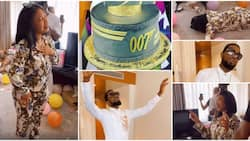 Dbanj wows birthday mate Tonto Dikeh with worship session, she surprises him in turn with lovely cake