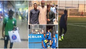 Kind Nigerian man surprises poor orphan, sponsors him abroad for football trials, many react