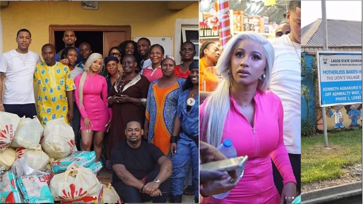 Cardi B buys provisions worth millions of naira, donates to orphanage in Lekki
