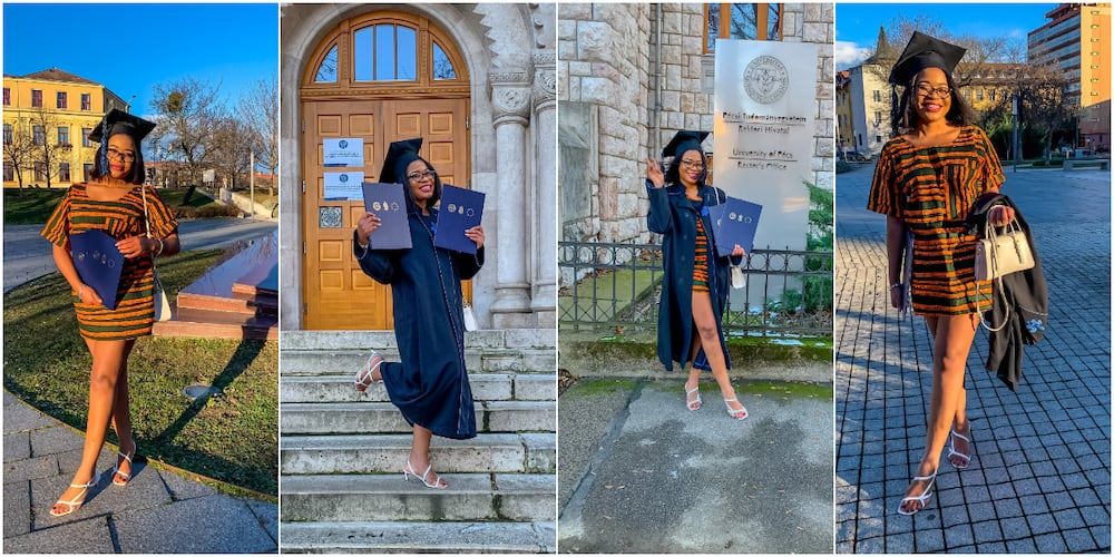 Nigerians celebrate lady who bags 2 degrees from top foreign universities as adorable graduation photos go viral