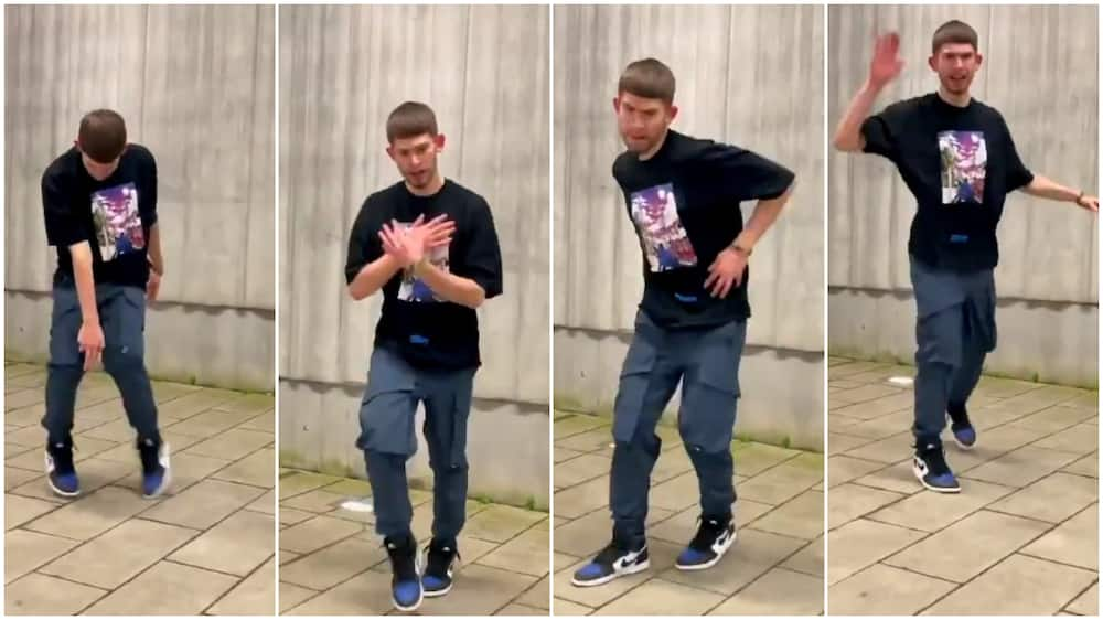 White man wows Nigerians with quick legwork moves as he dances to Burna Boy anybody