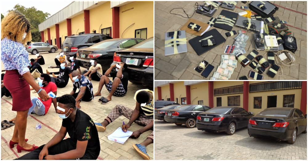 Clampdown in Enugu as EFCC arrests 30 Yahoo boys, laptops, cars, other items recovered