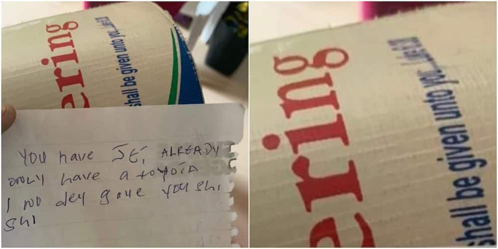 A funny note was found inside a church offering box somewhere In Nigeria.