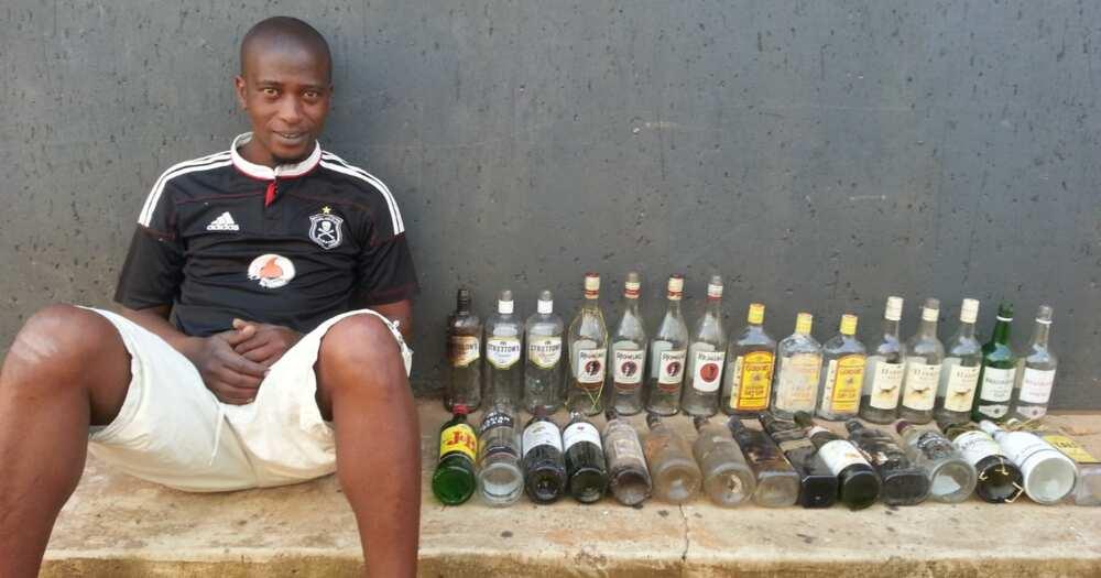 Mzansi Man Transforms Bottles from Dumpsites into Beautiful Home Decor