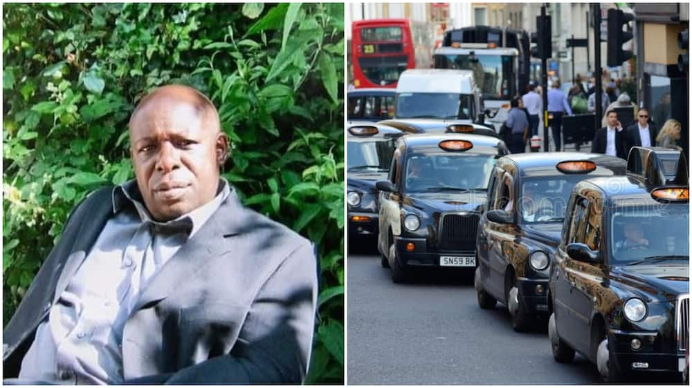 A collage of the driver and taxis in London. Photo sources: Daily Mail/Dreamstime