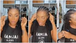I can't think straight: Laura Ikeji cries out as she yanks off headache inducing braids after 4 hours