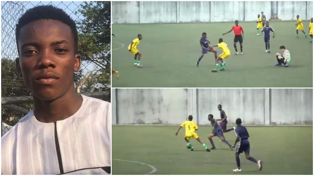 See how talented young Nigerian dribbled many people on football pitch with his left foot (video)
