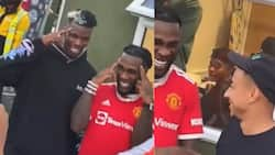 Another Man United star joins Grammy award-winning artiste Burna Boy behind stage, flaunts crazy dance moves