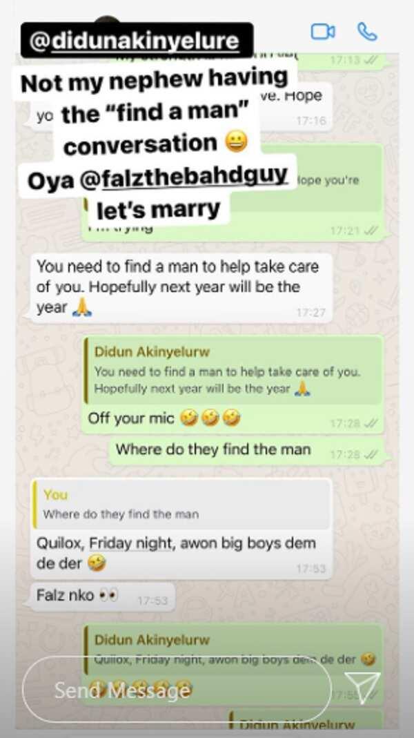 Toke Makinwa's nephew advises her to find a man, suggests Falz
