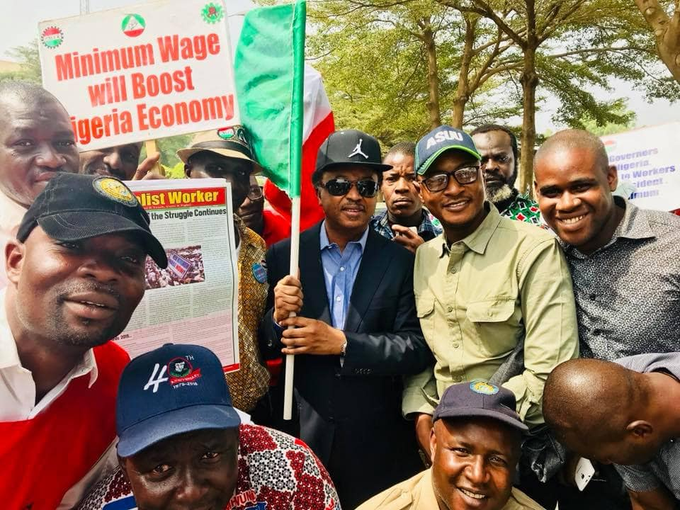 Senator Shehu Sani joins NLC protest for 30,000 minimum wage
