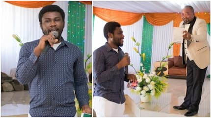 Nigerian man claims pastor's miracle sticker made him get visa to 3 countries, testifies in church (photos)
