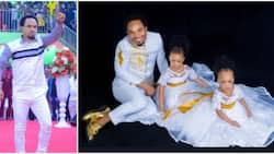Indabosky preacher Odumeje shows soft side, sits like a princess as he poses with daughters in cute photo