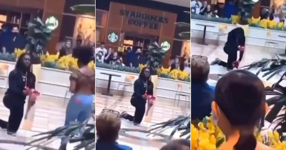This is heartbreaking: Reactions as Man is Rejected Publicly as he Proposes to Lover, Comforted by Strangers