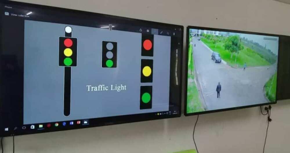 Students from Koforidua Technical University install traffic lights with inbuilt CCTV camera