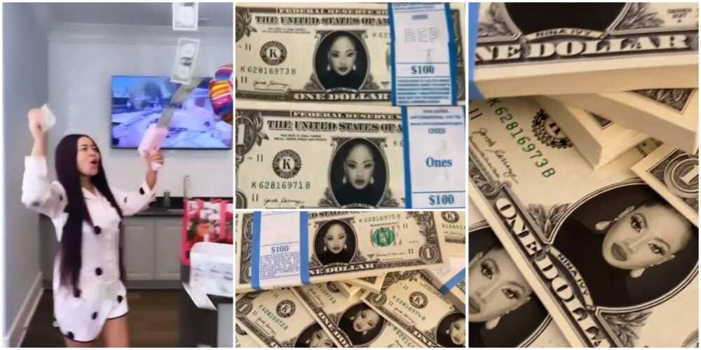 Real Money: BBNaija's Nina Shows Off Customised, Spendable Dollar Bills Hubby Gifted Her on Birthday