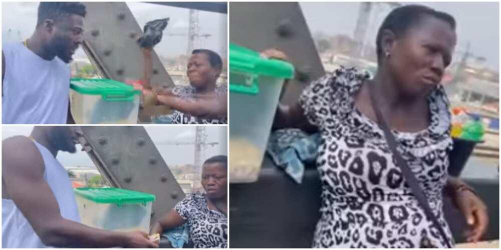 Sweet moment Nigerian man gifting a pregnant bridge hawker N100k melts hearts, video stirs reactions