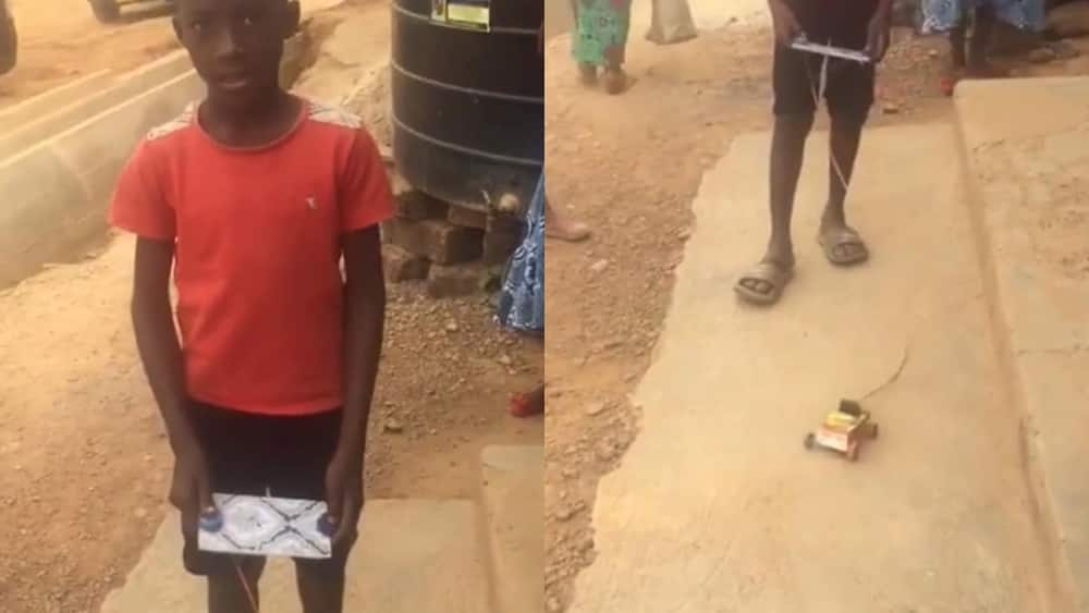 Young Obuasi boy creates remote-controlled car with straw & Kalypo box