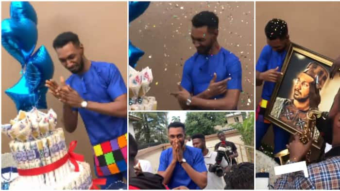 BBNaija's Yousef gets emotional as fans surprise him with money cake, picture frame and other impressive gifts