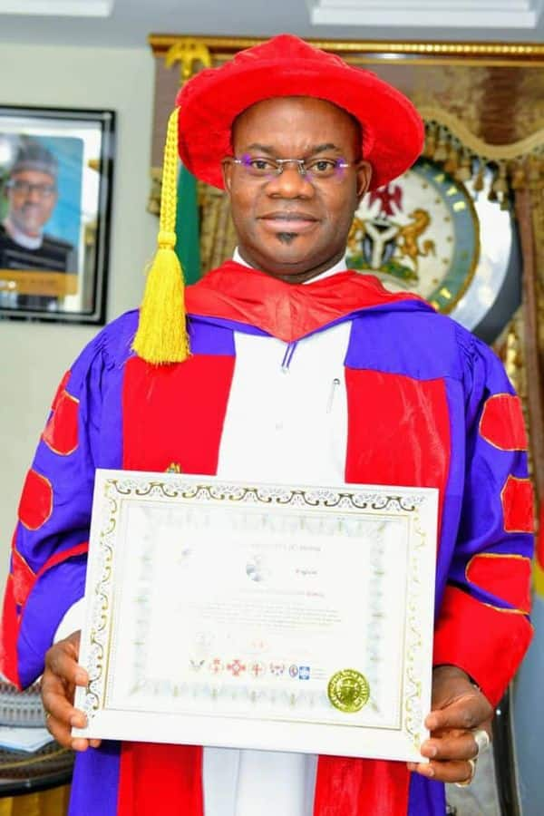 Governor Bello has been awarded a professorship certificate. Photo: @OfficialGYBKogi