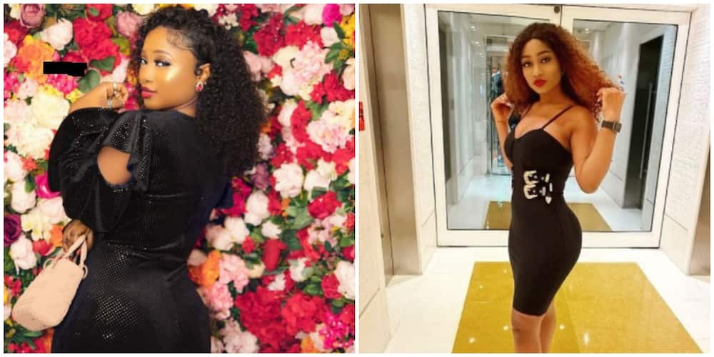 Photos of BBNaija Star Esther Biade in black outfits.
