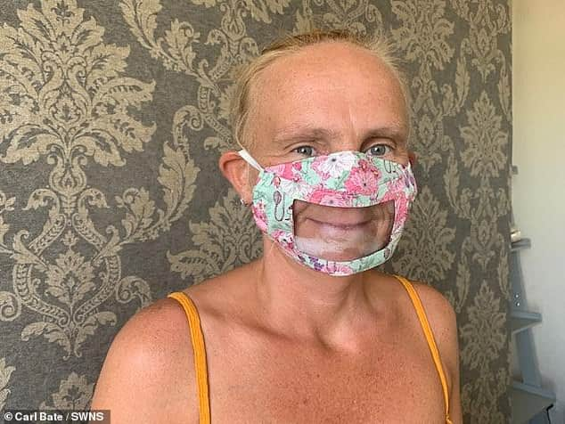 Deaf mum makes masks with plastic window over the mouth to allow lip reading