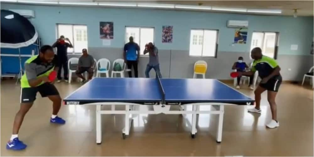 Top Nigerian commissioner gives 20th best table tennis player a run for his money as they battle in Lagos