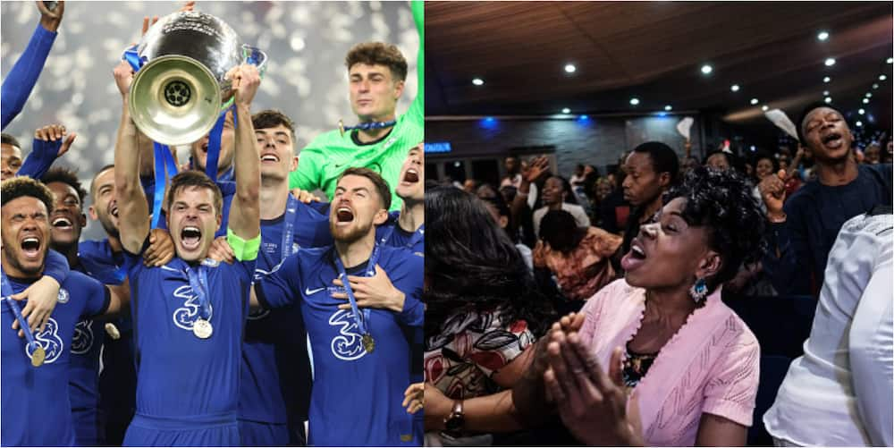 Church join Chelsea in Champions League celebrations as members dance with club's flag during service