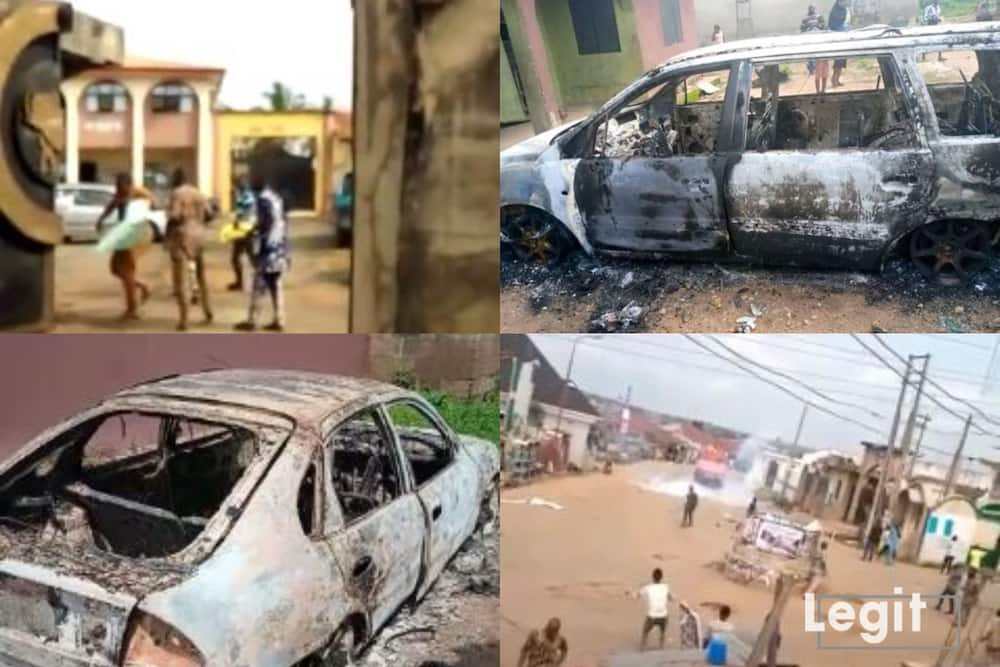 About 205 public and private facilities were destroyed during the EndSARS protest according to the police. Credit: Collage/Legit.ng