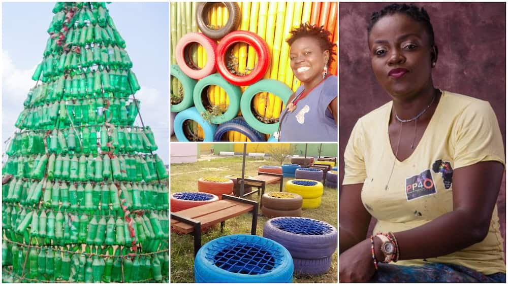 Trast to Treasure: Nigerian Lady Converts Waste Plastic Bottles, Old Tyres into 'Amusement Park' for Kids
