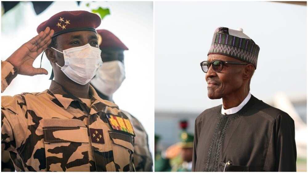 Buhari Meets Chad's Interim President in Aso Rock