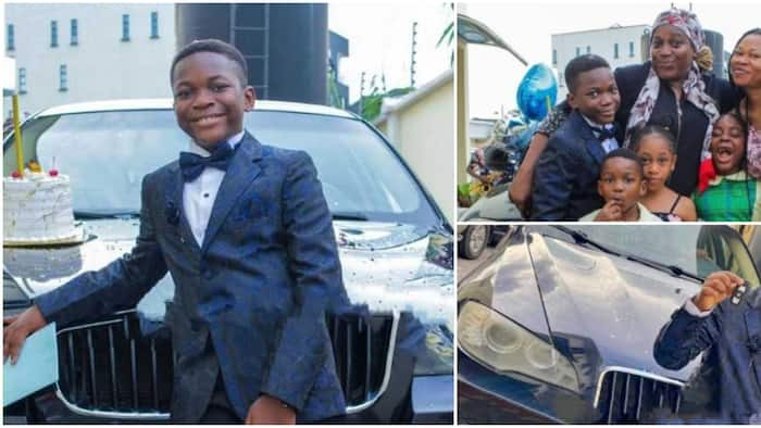 10-year-old Nigerian boy gifted a BMW car by his mum on his birthday, social media express surprise