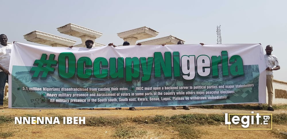 Breaking: Nigerians occupy Abuja over INEC's decision to declare Buhari president (photos)