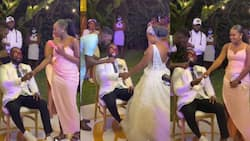 Great drama on wedding day as groom is blindfolded, asked to pick his wife among beautiful ladies