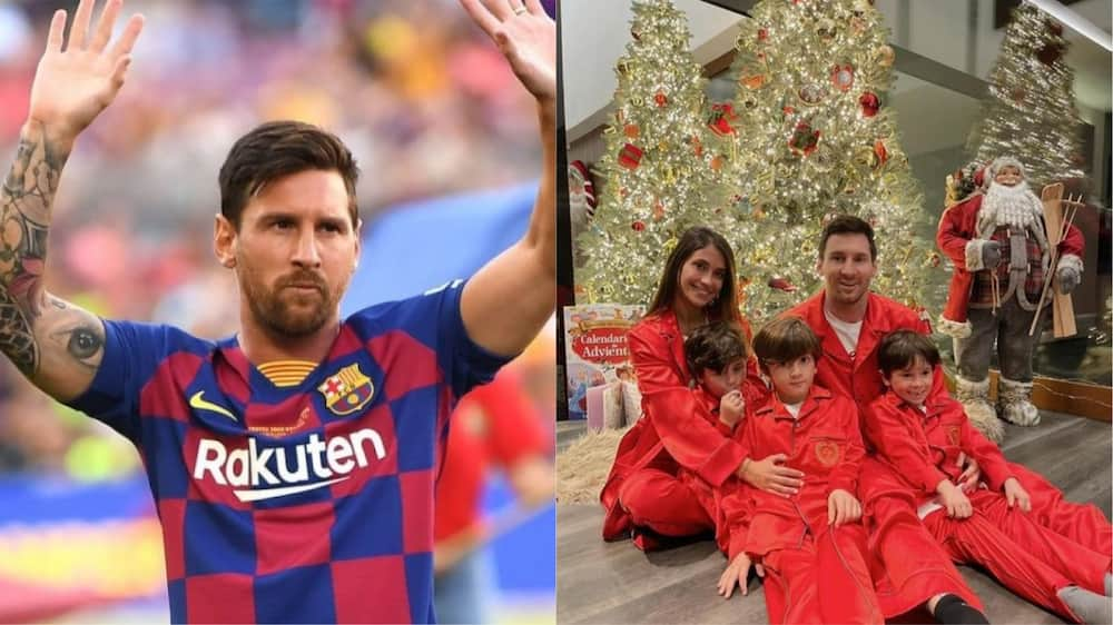 Lionel Messi, Barcelona star, poses with wife and children to celebrate Christmas