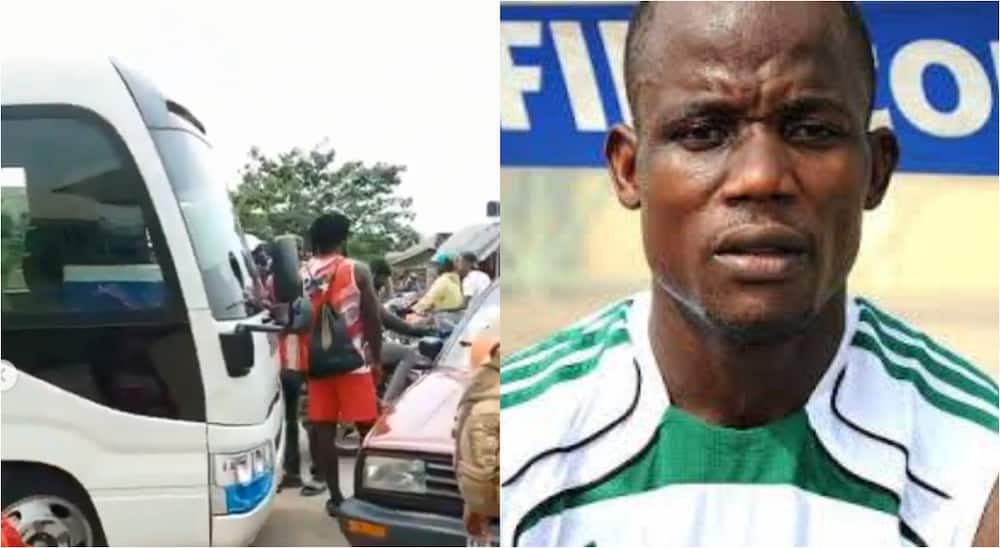 Nigerian footballer stops former club's bus, seizes it over unpaid salaries as players go to stadium on bikes