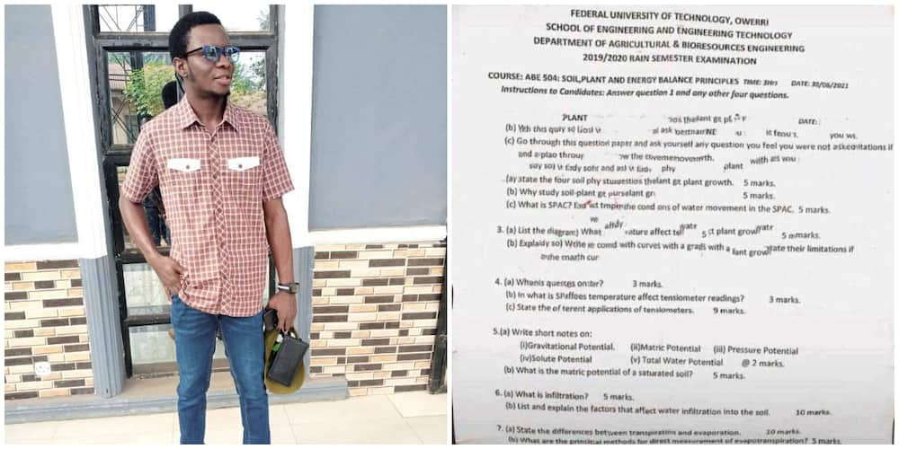 Reactions as photo emerge of federal university exam question paper asking students to set questions themselves
