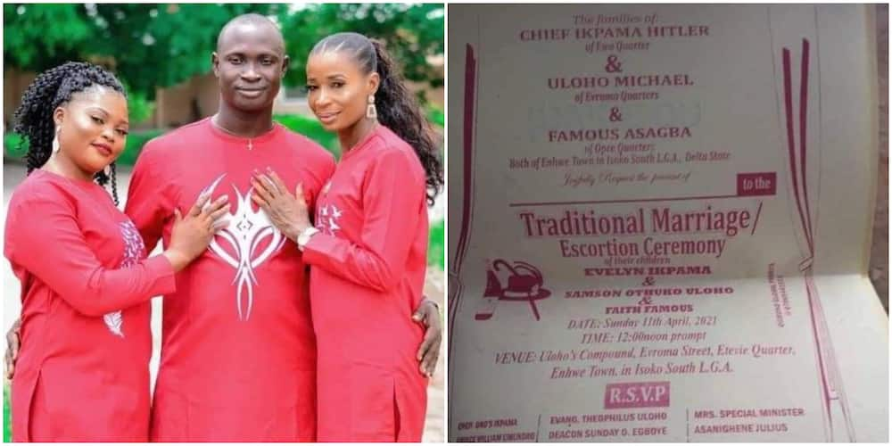 Internet Users React to Pre-Wedding Photo of Nigerian Man Set to Wed Two Women on the Same Day