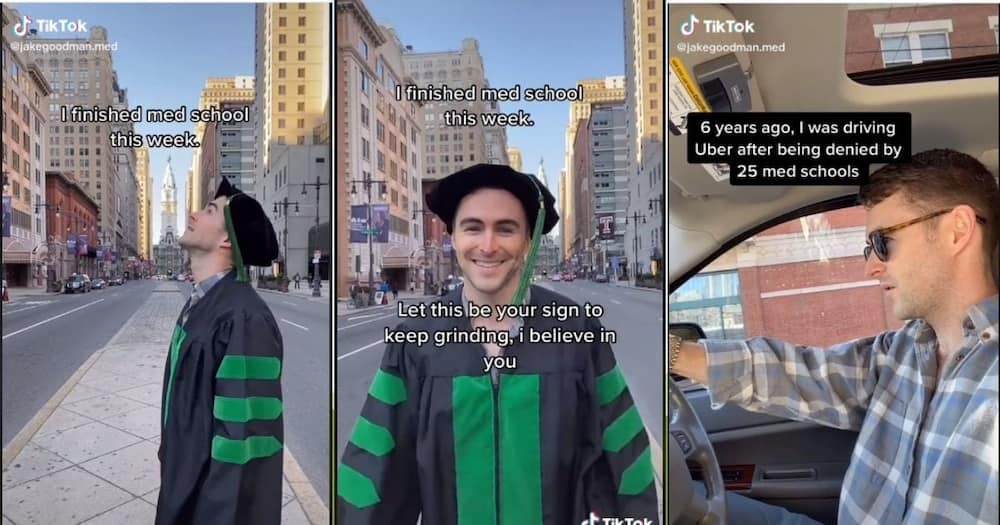 Tik Tok user Jake Goodman reflects on his journey after finally becoming a Doctor. Image: TikTok