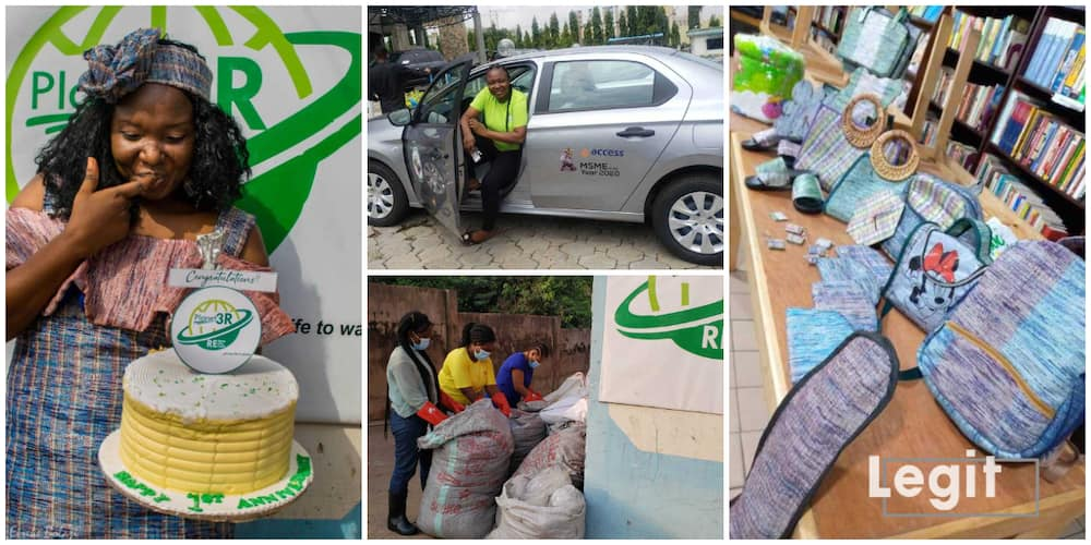 How I Make Money from What People Consider as Useless, Nigerian Lady Making Bags, Shoes from Pure Water Wastes