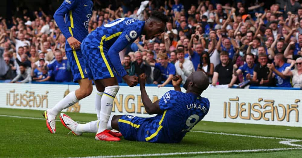 Romelu Lukaku of Chelsea celebrates scoring the opening goal with teammate Callum Hudson-Odoi during the Premier League match between Chelsea and Aston Villa. (Photo by Craig Mercer/MB Media/Getty Images)
