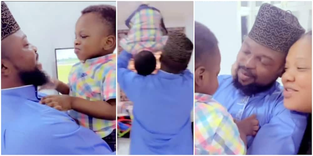 Reactions as Actress Toyin Abraham Excitedly Announces That Her Son Now Lets Her Kiss His Dad