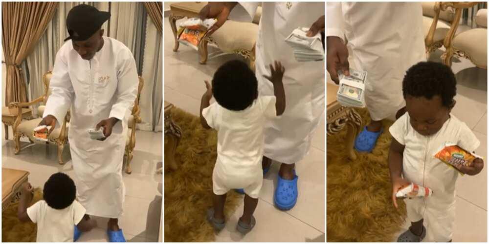 Zlatan Ibile's son picks cheese balls over dollars in video