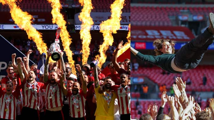 Brentford promoted to EPL after Toney and Emiliano demolish 10-man Swansea