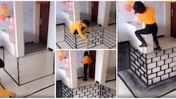 Talented man fakes pit inside room with amazing floor painting, shocks a lady looked in video