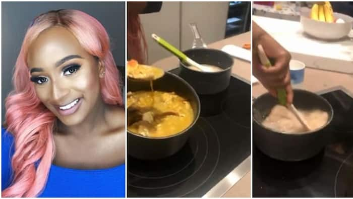 Nigerians share interesting reactions to video of billionaire daughter DJ Cuppy making eba and okra